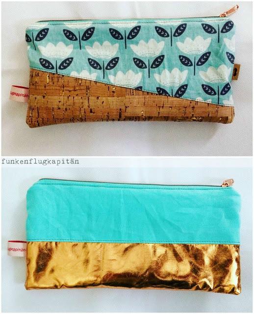 Kosmetiktaschen aus Kork und Baumwollstoffen
