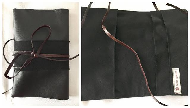 Windeltasche, Wickeltasche aus Leder und Filz schwarz