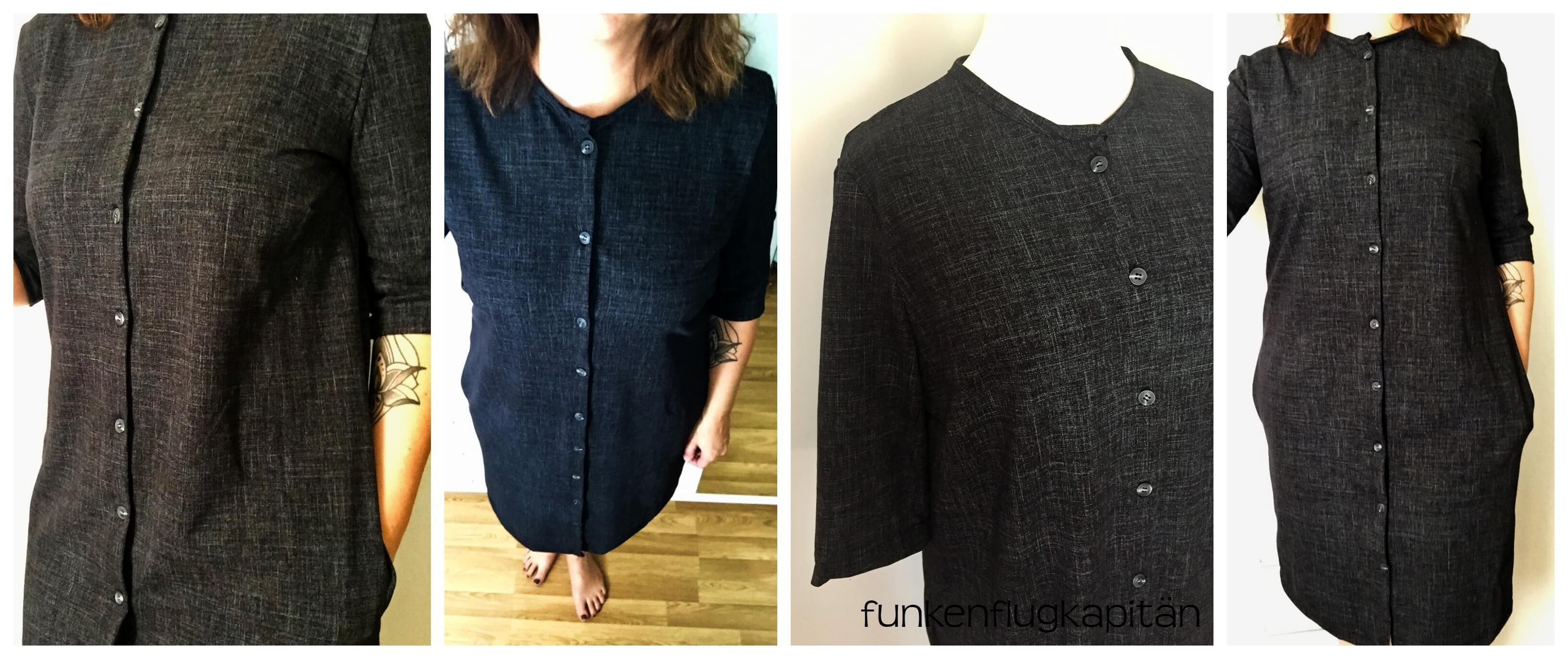 Hemdblusenkleid Jeansstoff schwarz