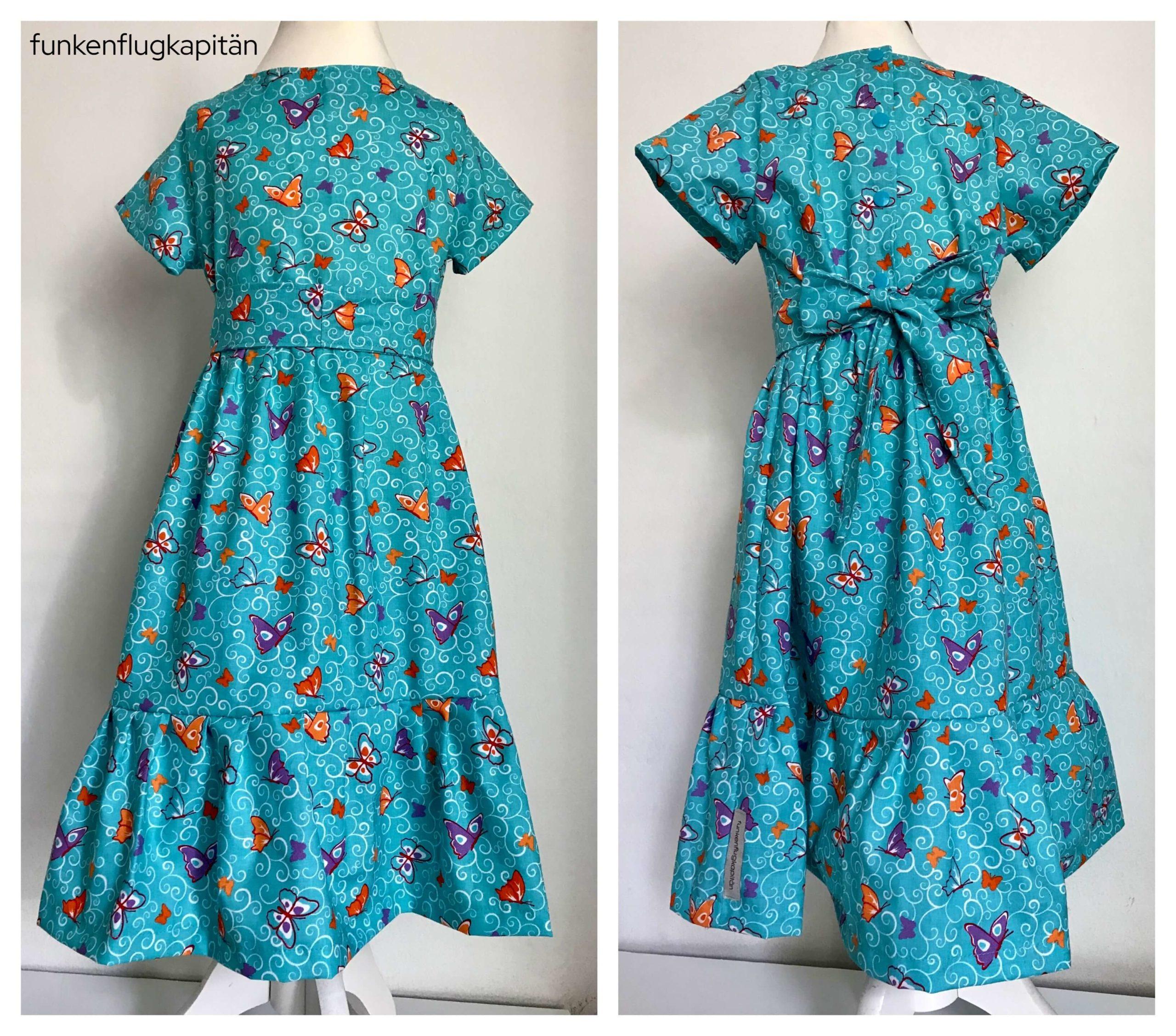 Girls Party Dress Jessy Sewing Baumwolle Blau Schmetterlinge