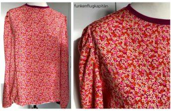 Juni Design Bluse No 18 Viskose rosa Streublumen