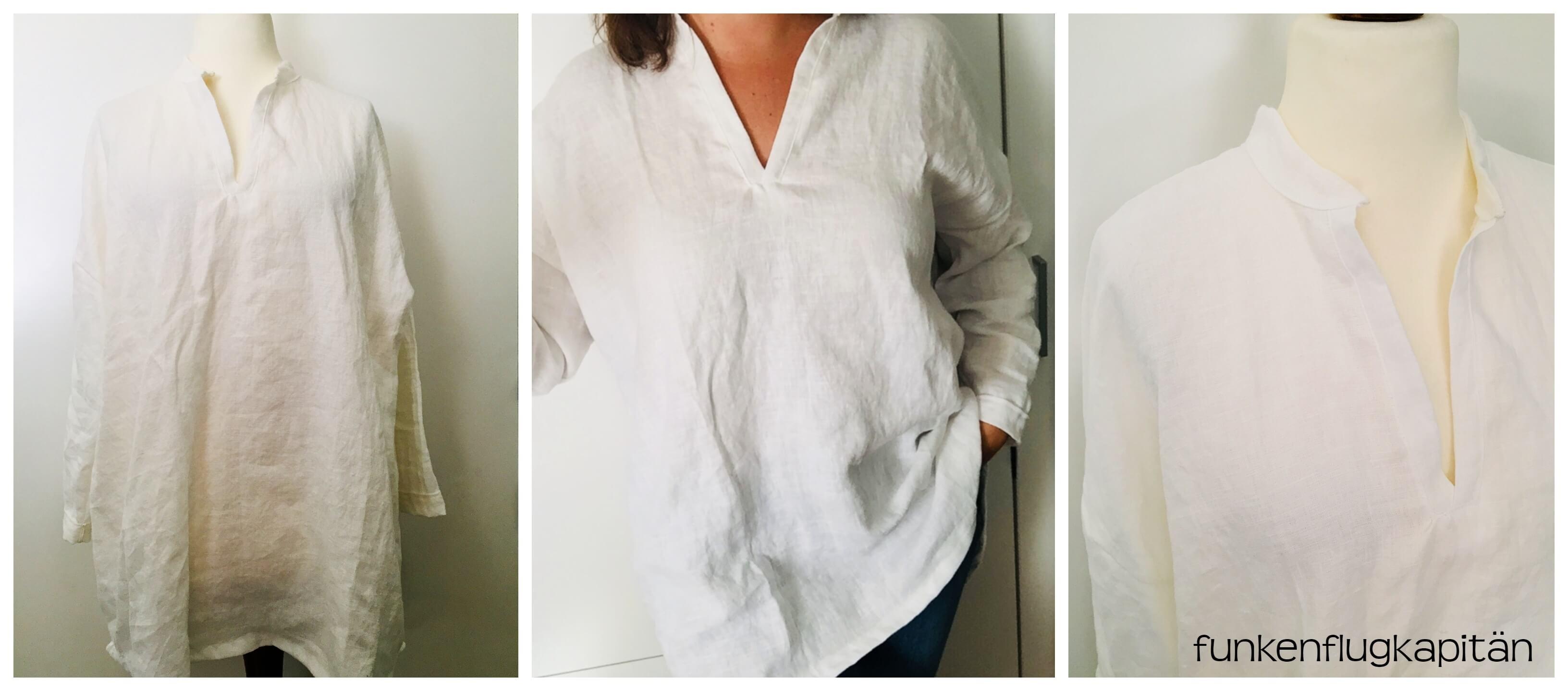 Tunika gewaschenes Leinen weiß