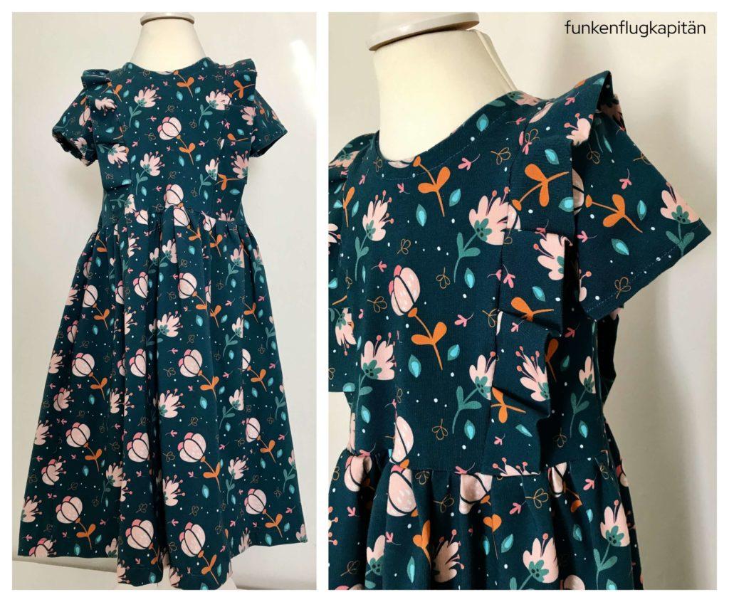 Schneiderline Vintage Dress Jerseyedition blau Blumen