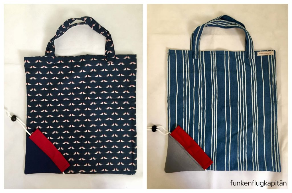 Taschen in der Tasche blau rot