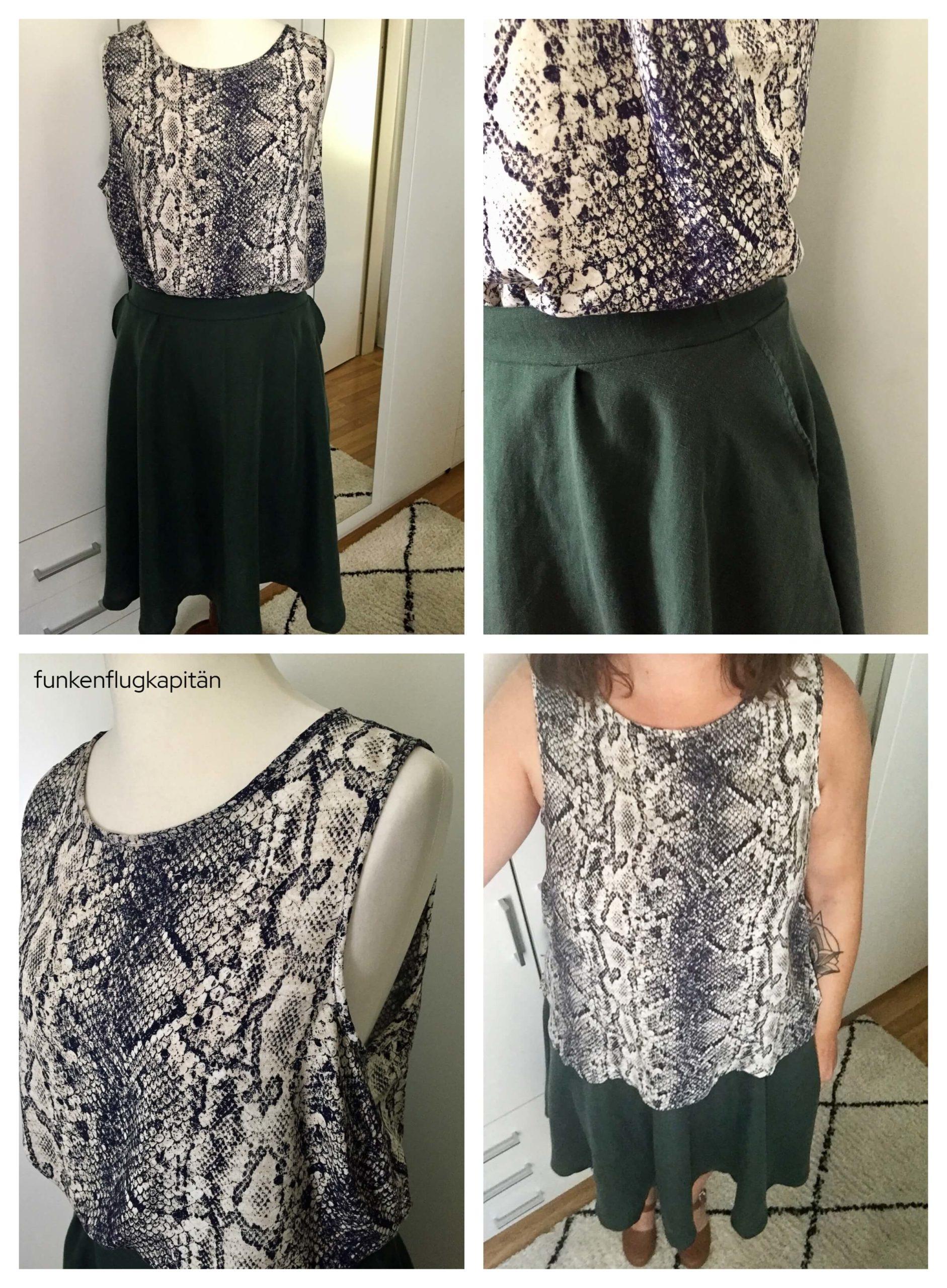 Tessuti Fabrics Kate Top Schlange Frau Bella Rock Studio Schnittreif Viskoseleinen grün